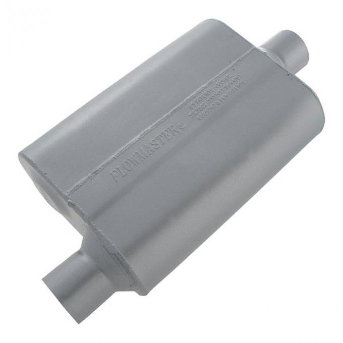 Corvette Flowmaster 40 Series Muffler, 2 1/2 Inch Offset In & 2 1/2 Inch Center Out, 1968-1982