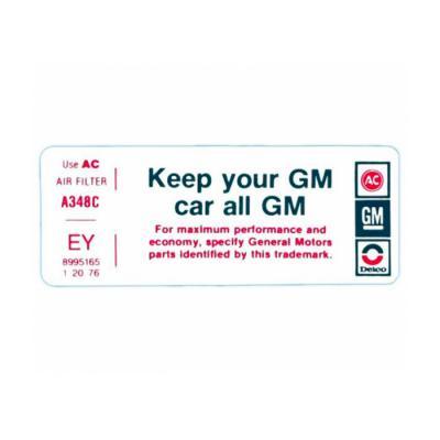 "Corvette Air Cleaner Decal, ""Keep Your GM Car All GM"", CG, 1979"