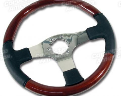 Corvette Steering Wheel, Leather/Wood Chrome 3 Spoke, 1968-1982