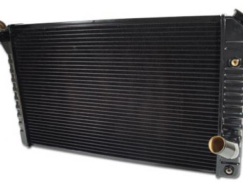 Corvette Radiator, With Automatic Transmission &  Air Conditioning, Brass Replacement, Small & Big Block, 1973-1976 Early