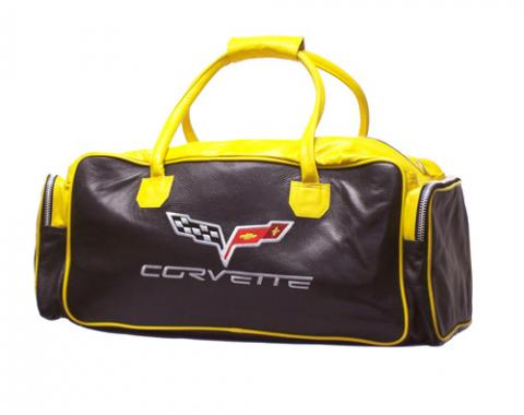 Corvette Black & Yellow Duffle Bag, with C6 Logo, 24""