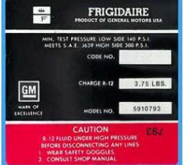 Corvette Decal, Air Conditioning Compressor Frigidaire, 1972