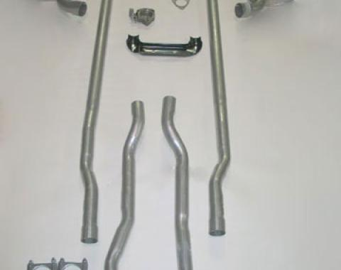 Corvette Exhaust System, Deluxe, 2.5 Inch, Separate Secondary Pipe and Muffler, 4 Speed, 1964-1965