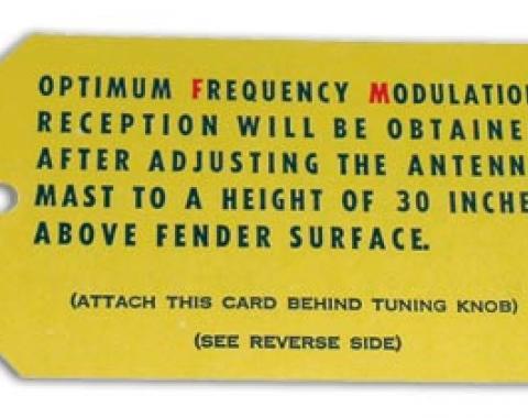 Corvette Card, FM Radio Antenna, 1964-1966
