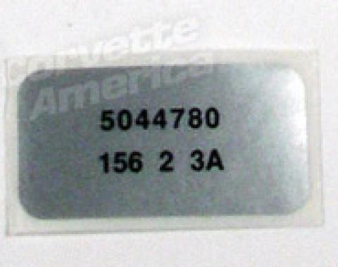 Corvette Label, Windshield Wiper Motor, 1971-1972