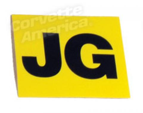 Corvette Decal, Valve Cover Eng Cd-Jg, 1967