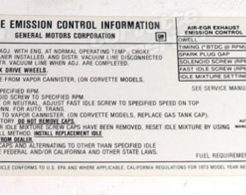Corvette Decal, Emission 454 Federal, 1973
