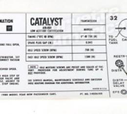 Corvette Decal, Emission 350 L48 Manual, 1980