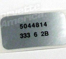 Corvette Label, Windshield Wiper Motor, 1976-1978