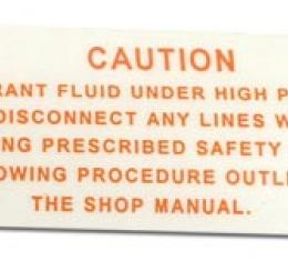 Corvette Decal, Air Conditioning Compressor Warning, 1963-1965