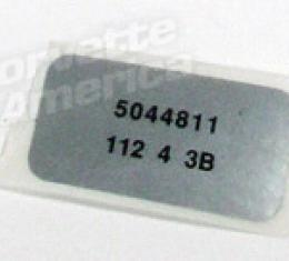 Corvette Label, Windshield Wiper Motor, 1974-1975