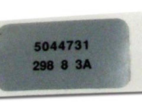 Corvette Label, Windshield Wiper Motor, 1969