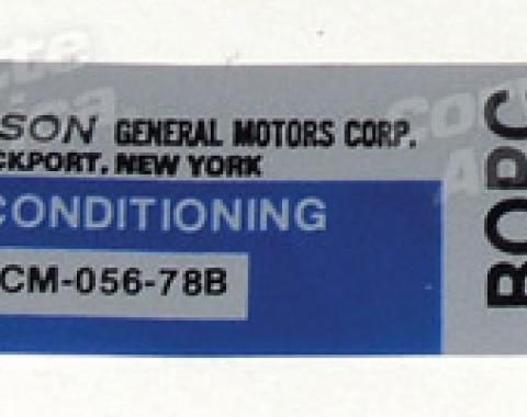 Corvette Decal, Air Conditioning Foil Plate, 1978