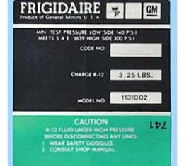 Corvette Decal, Air Conditioning Compressor Frigidaire, 1972-1973