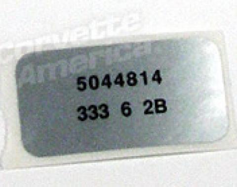 Corvette Label, Windshield Wiper Motor, 1976-1978