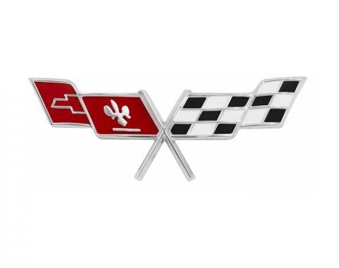 Trim Parts 77 Corvette Gas Lid X-Flag Emblem, Each 5963
