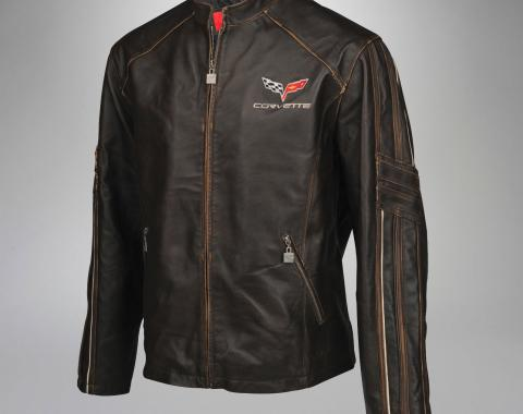 Mens C6 GS Racer Featherweight Extra Long Leather Jacket | 2XL