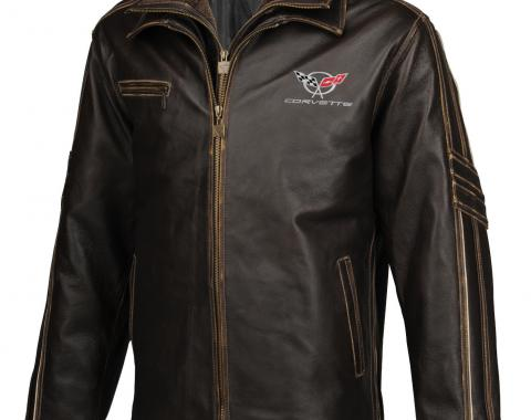 Mens C5 GS Racer Heavyweight Extra Long Leather Jacket | 2X