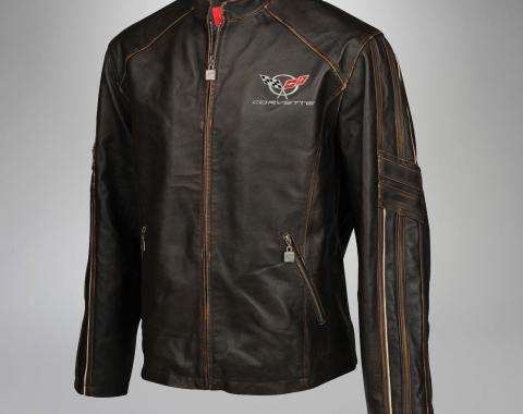 Mens C5 GS Racer Featherweight Regular Leather Jacket | 2XL