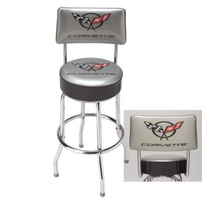 Corvette Stool, Silver with Back Rest, C5 Emblem