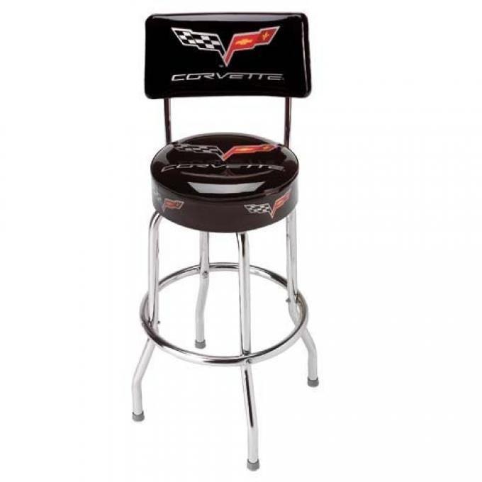Corvette Stool, Black with Back Rest, C6 Logo