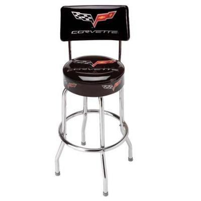 Corvette Stool, Black with Back Rest, C6 Logo