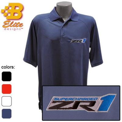 ZR1 Corvette Emblem Mens Performance Polo Shirt, Black, X-Large