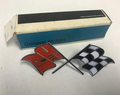 GM 1957-1960 Corvette Crossed-Flags Emblem, Side Fender, NOS 3767507