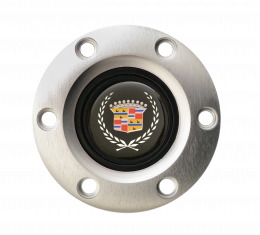 Volante S6 Series Horn Button Kit, Blue Cadillac, Brushed