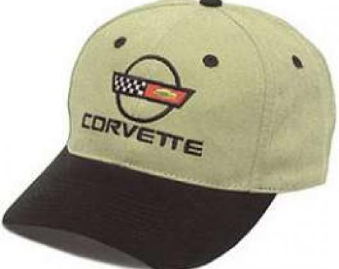 C4 Corvette Black & Khaki Low Profile Brushed Twill Hat