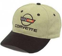 C4 Corvette Black & Khaki Low Profile Brushed Twill Hat