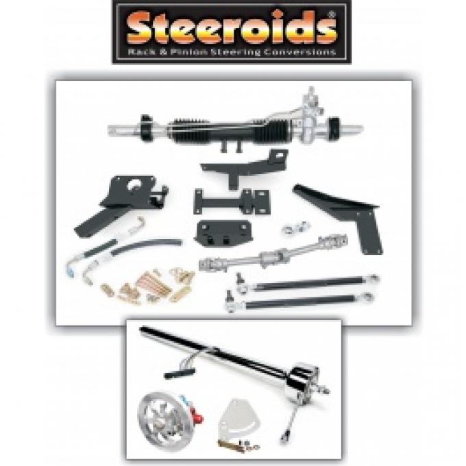 Corvette Rack & Pinion Conversion Kit, Steeroids, With Power Steering, Chrome Column, 1958-1962