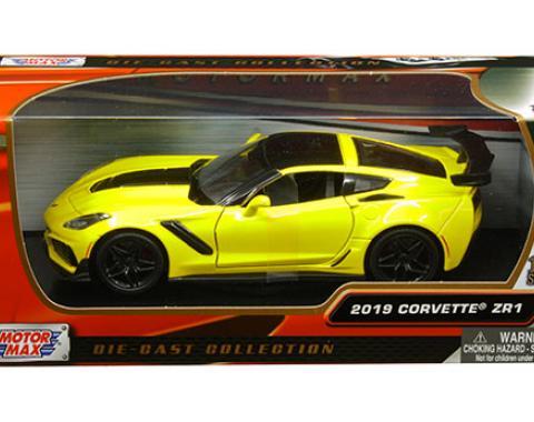 Motormax Timeless Legends 2019 C7 Corvette ZR1 1/24 Diecast   Yellow