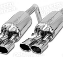 """Corvette B&B Triflo Exhaust System, Route 66 4.5"""" Oval Tips, 2005-2008"""