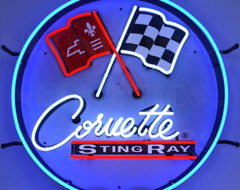 Neonetics Standard Size Neon Signs, Corvette C2 Stingray Round Neon Sign with Backing