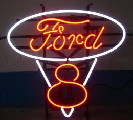 Neonetics Standard Size Neon Signs, Ford V8 Red and White Neon Sign