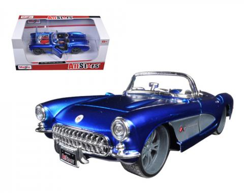 Maisto 1:24 W/B All Stars 1957 Chevrolet Corvette Blue