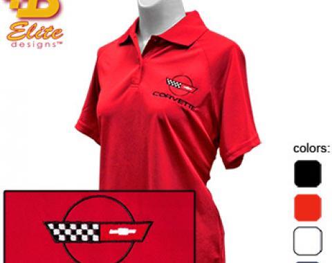 C4 Corvette Emblem Ladies Performance Polo Shirt