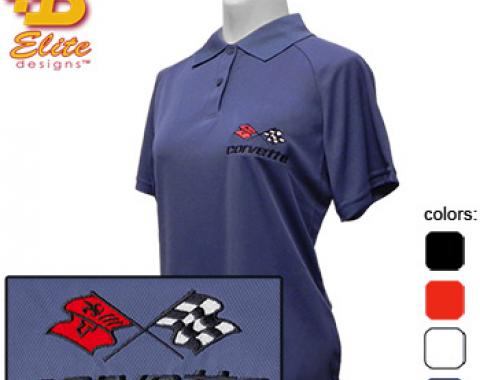 C3 Corvette Emblem Ladies Performance Polo Shirt