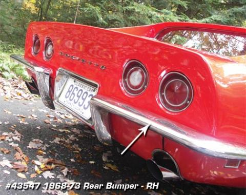 Corvette Rear Bumper, Right USA, 1968-1973