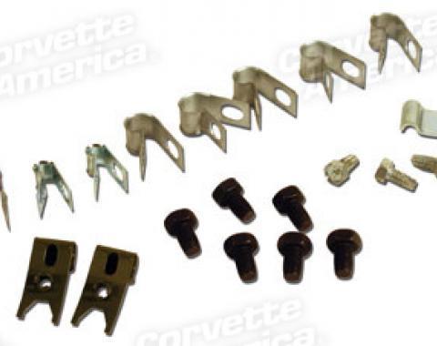 Corvette Brake Line Clip/Screw Set, Correct, 1967