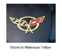 Corvette C5 Millennium Yellow Air Bridge 3D Domed Logo Decal, 1997-2004