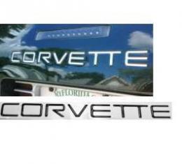 Corvette Rear Bumper Lettering Kit, Domed, Black, 1991-1996