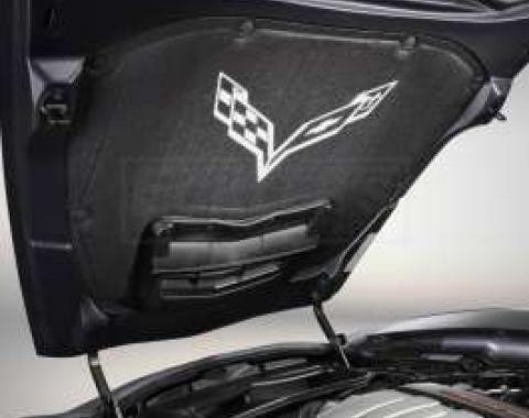 Corvette Stingray Underhood Liner, Cross Flag Logo, 2014-2018