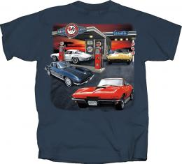 Corvette T-Shirt, Service Station, Blue