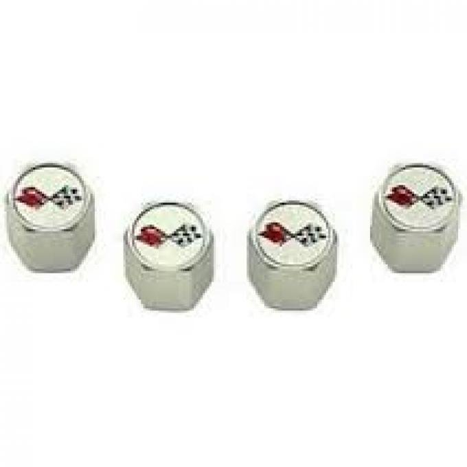 Corvette C3 Logo Valve Stem Caps, Chrome