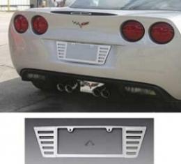 Corvette Rear License Plate Frame, Billet Aluminum Chrome Plated, 2005-2019