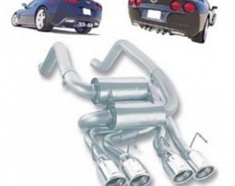 Corvette Mufflers, Borla, Sport S-Type Series, With Quad Round Tips, 2005-2008