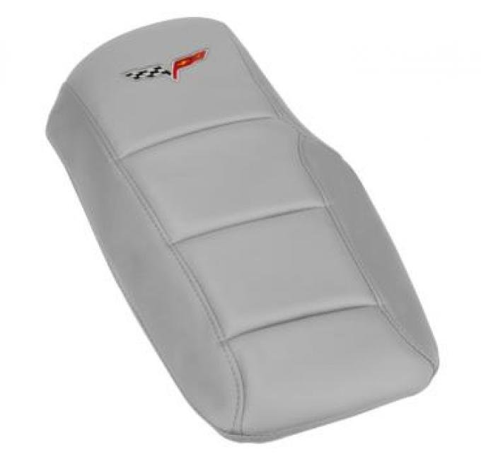 Corvette Console Cushion, with Embroidered C6 Logo, Machine Silver, 2005-2013