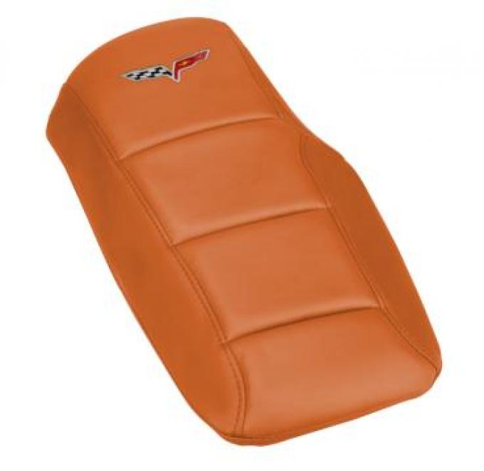 Corvette Console Cushion, with Embroidered C6 Logo, Atomic Orange, 2005-2013
